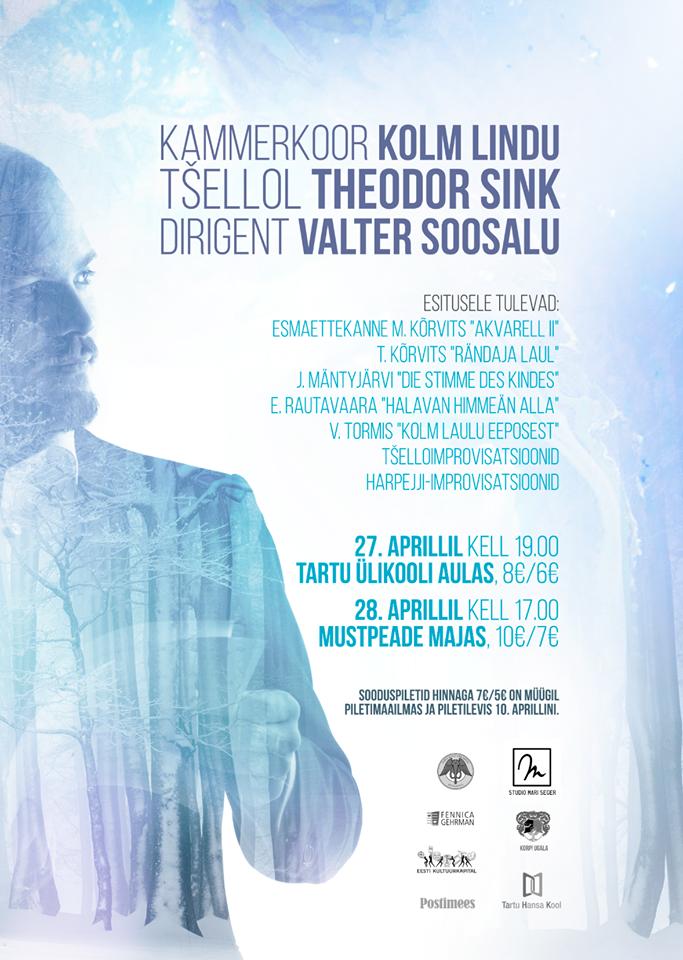 Kontsert: Kammerkoor Kolm Lindu, Valter Soosalu, Theodor Sink