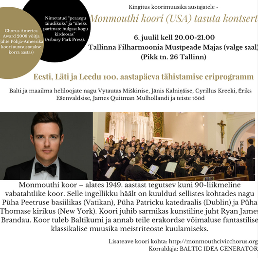 Monmouthi koori (USA) tasuta kontsert