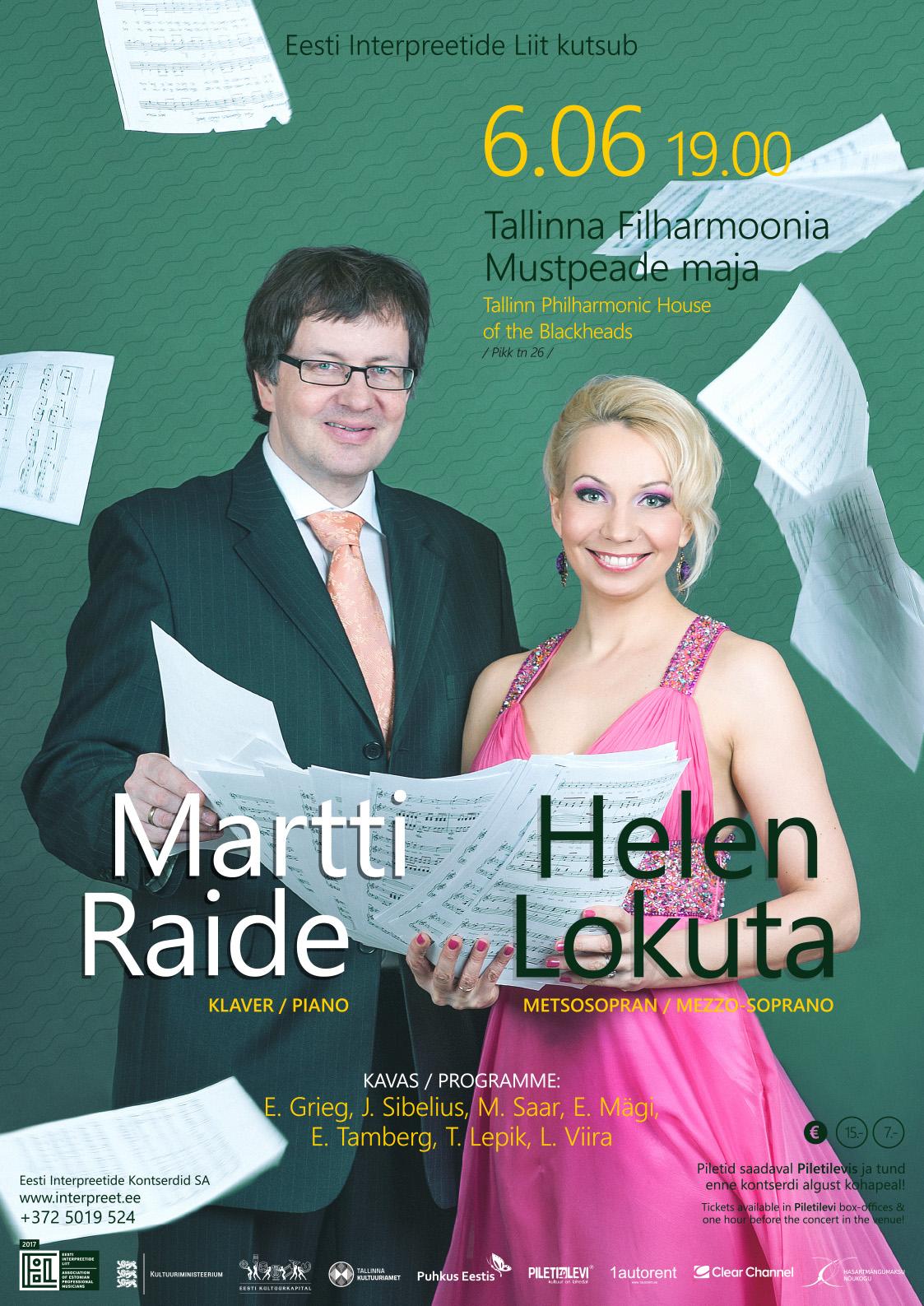 Eesti Interpreetide Liit kutsub: Helen Lokuta (metsosopran) ja Martti Raide (klaver)