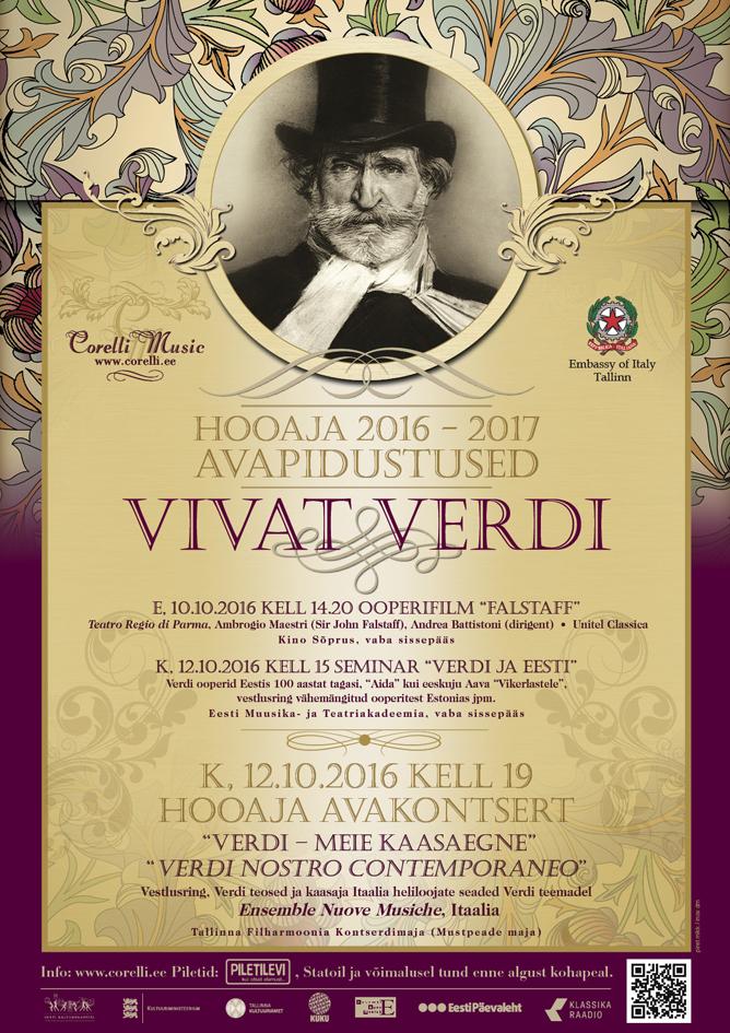 """Corelli Music. HOOAJA AVAKONTSERT """"Verdi - meie kaasaegne"""" / """"Verdi nostro contemporaneo"""""""
