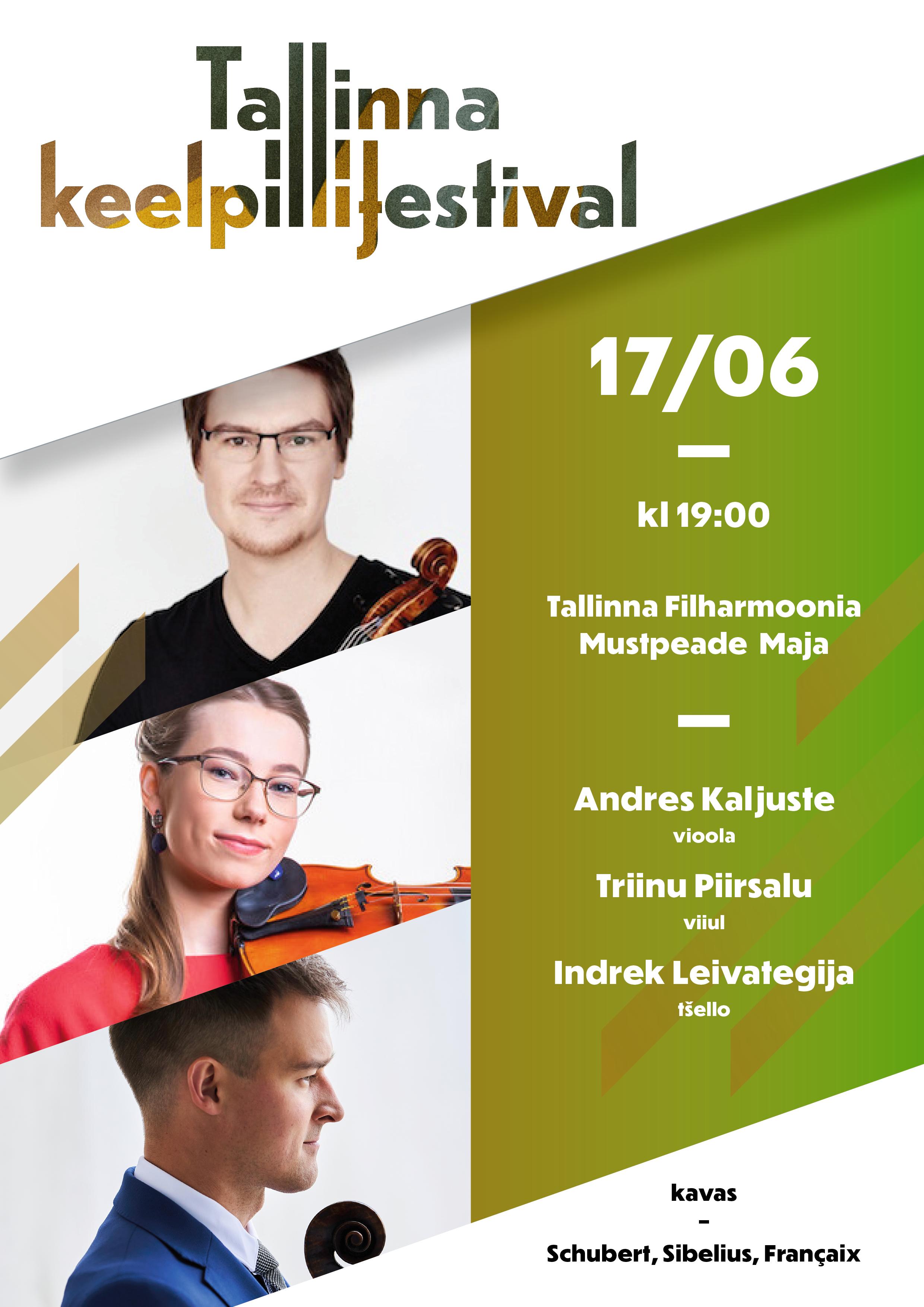 Triinu Piirsalu (viiul), Andres Kaljuste (vioola), Indrek Leivategija (tšello) / Tallinna Keelpillifestival